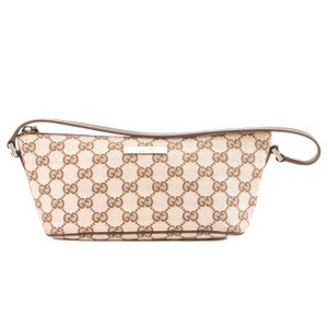 15f373f15a6d Gucci Gucci Brown Leather Pink GG Monogram Canvas Pochette Bag Pre Owned