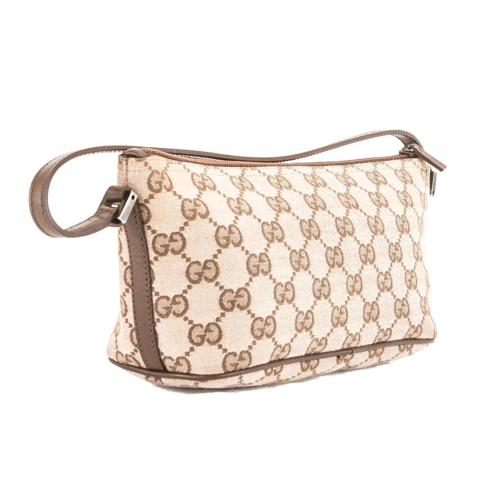 0f25afcb531 Gucci Gucci Brown Leather Pink GG Monogram Canvas Pochette Bag Pre Owned  Image 7. 12345678