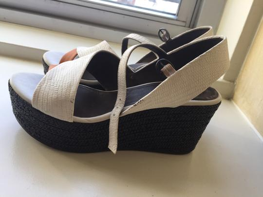 Coclico Wedge Braided Heel White, tan and black Platforms