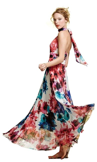 Item - Colorful Floral Print Long Casual Maxi Dress Size 4 (S)