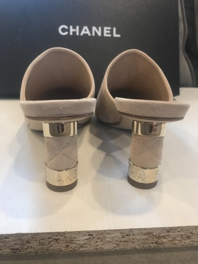 Chanel Heels Slides Quilted Suede Beige Mules Image 11
