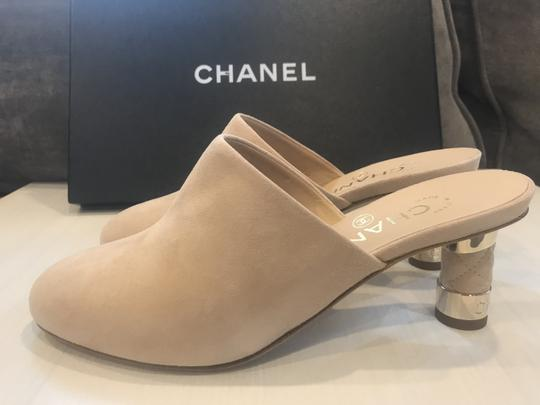 Chanel Heels Slides Quilted Suede Beige Mules Image 4