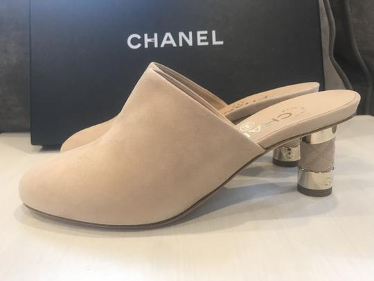 Chanel Heels Slides Quilted Suede Beige Mules Image 5