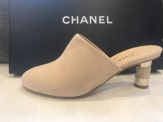 Chanel Heels Slides Quilted Suede Beige Mules Image 7