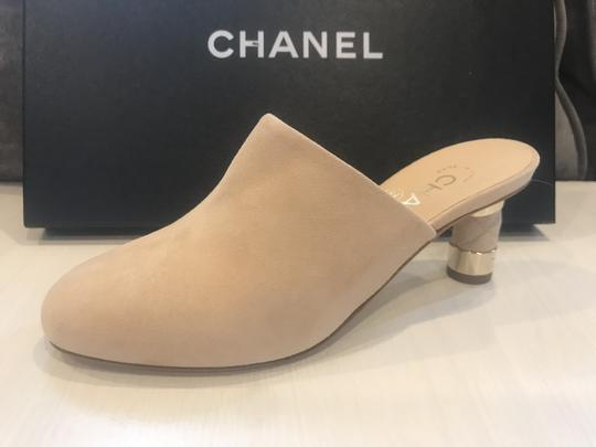Chanel Heels Slides Quilted Suede Beige Mules Image 8