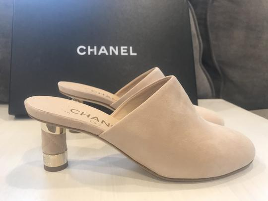 Chanel Heels Slides Quilted Suede Beige Mules Image 9