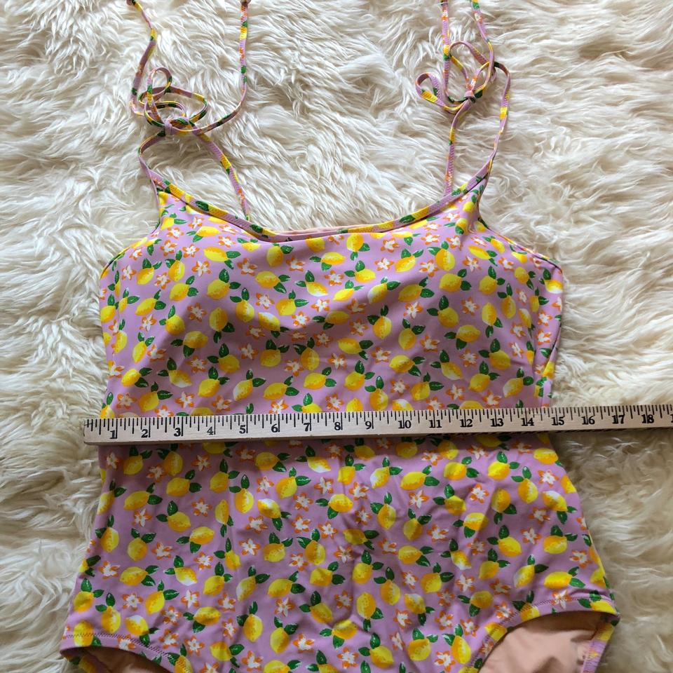 e65eaaa497029 J.Crew Shoulder-tie one-piece swimsuit in lemon print Image 10.  1234567891011