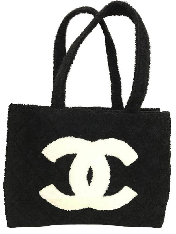 d651bd9afceda4 Chanel Terry Towel Tote Black Beach Bag …