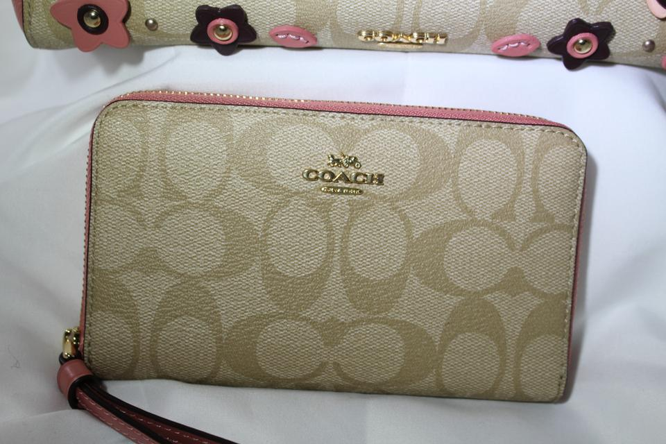 Coach bundle carryall 25 with floral applique f31195 wallet pink