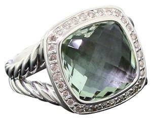David Yurman David Yurman 11mm Prasiolite Albion Diamond Ring size 6