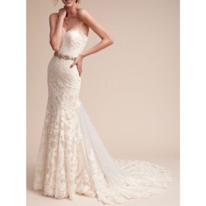 BHLDN White Lace/Tulle Leigh Gown Formal Wedding Dress Size 4 (S)
