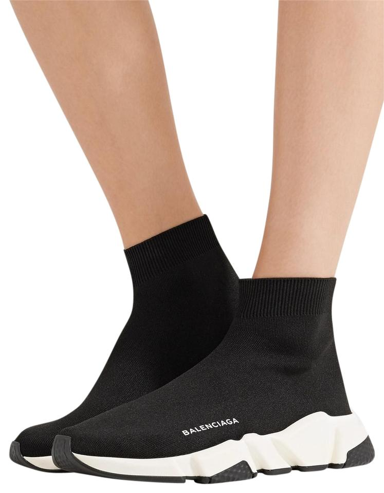 Speed Balenciaga High Women's Stretch Sneakers top knit Sneakers Trainer Black wUqRUnx1E