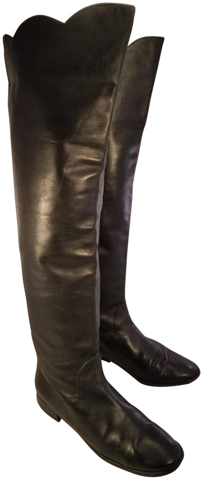 Saint Laurent Black Otk Over Equestrian The Knee Ysl Riding Equestrian Over Boots/Booties 611173
