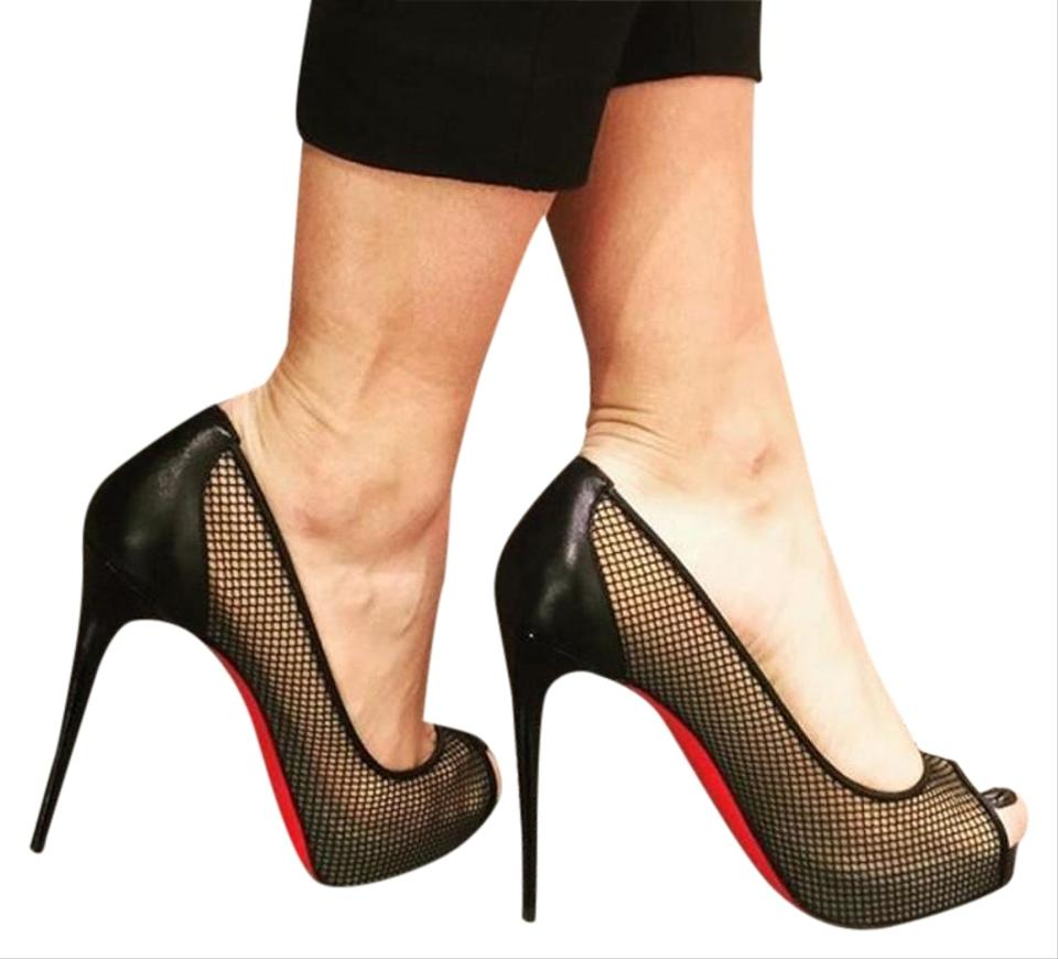 big sale f3d22 9556d Christian Louboutin Black Very Rete Mesh Peep Toe Pumps Platforms Size EU  37.5 (Approx. US 7.5) Regular (M, B) 24% off retail