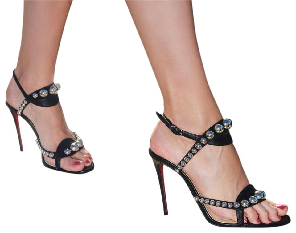 Christian Louboutin Ankle Black Galeria Studded Ankle Louboutin Strap Strappy Sandals de2a1e