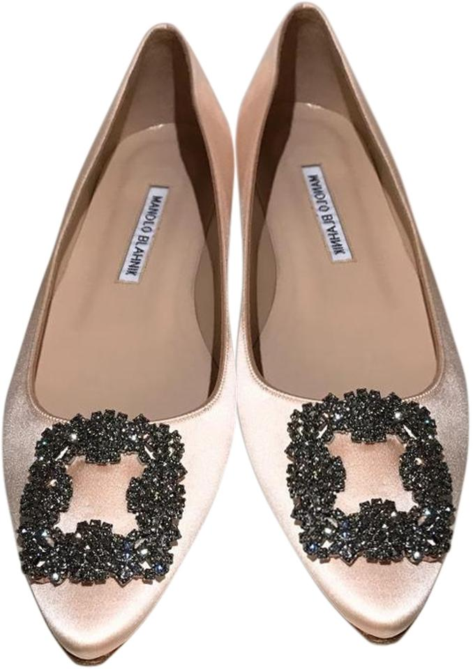 e2c5ade71c7a Manolo Blahnik Nude Blush Satin Hangisi Jeweled Crystal-buckle Ballet Flats