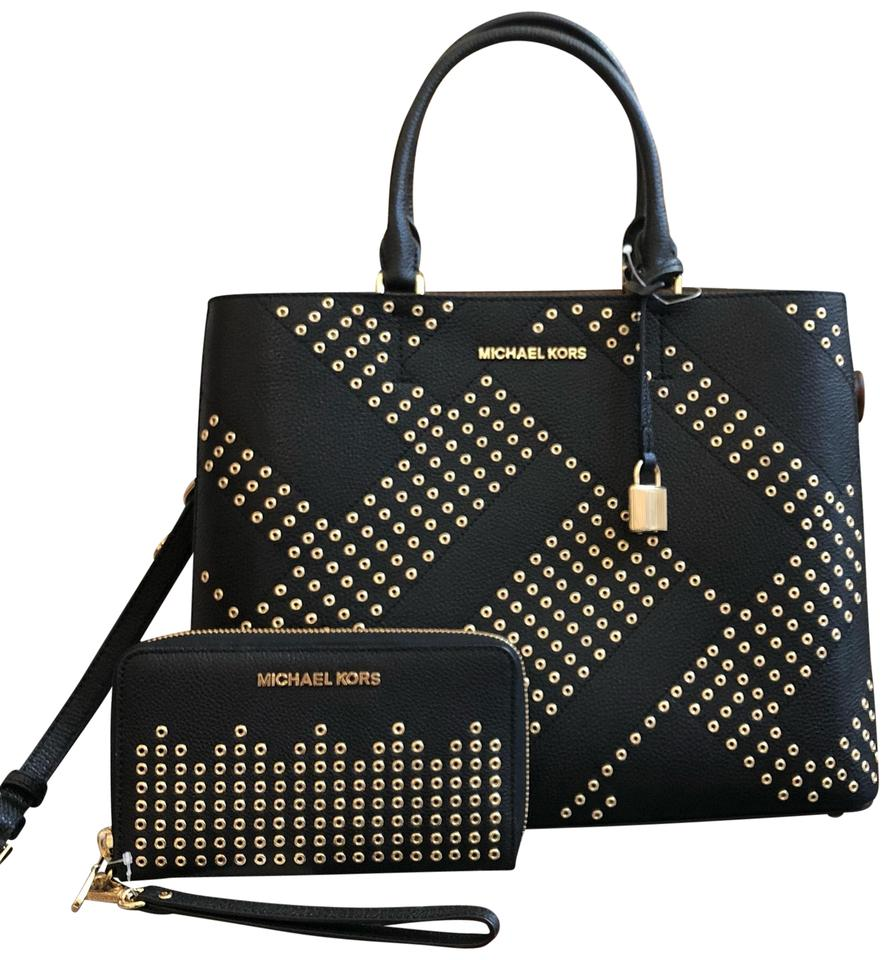 9e2eacafc1591 Michael Kors Embossed Leather Unique Pale Gold Gucci Prada Satchel in black  Image 0 ...