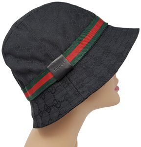 Gucci Black canvas GG web print Gucci bucket hat M 1e4db61e9c6