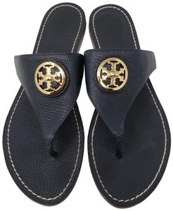 0c3630193 Tory Burch Blue Dark Slate Leather Judy Sandals Size US 11 Regular ...