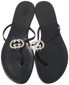 Gucci Satin Crystal Gg Silver Hardware Guccissima Black Sandals