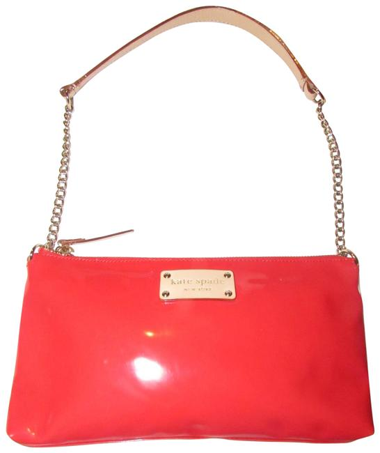 Item - Purses/Designer Purses Red Patent Leather with Chain and Camel Leather Strap Shoulder Bag