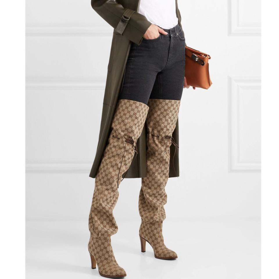 336fe7281 Gucci Lisa Leather Trimmed Logo Jacquard Over The Knee Boots/Booties ...