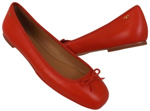 Tory Burch Bow Stacked Heel Driving Poppy Orange Flats