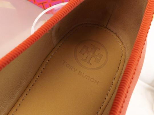 Tory Burch Bow Stacked Heel Driving Poppy Orange Flats Image 8