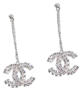 Chanel Cc logo with crystals dangle studded earrings