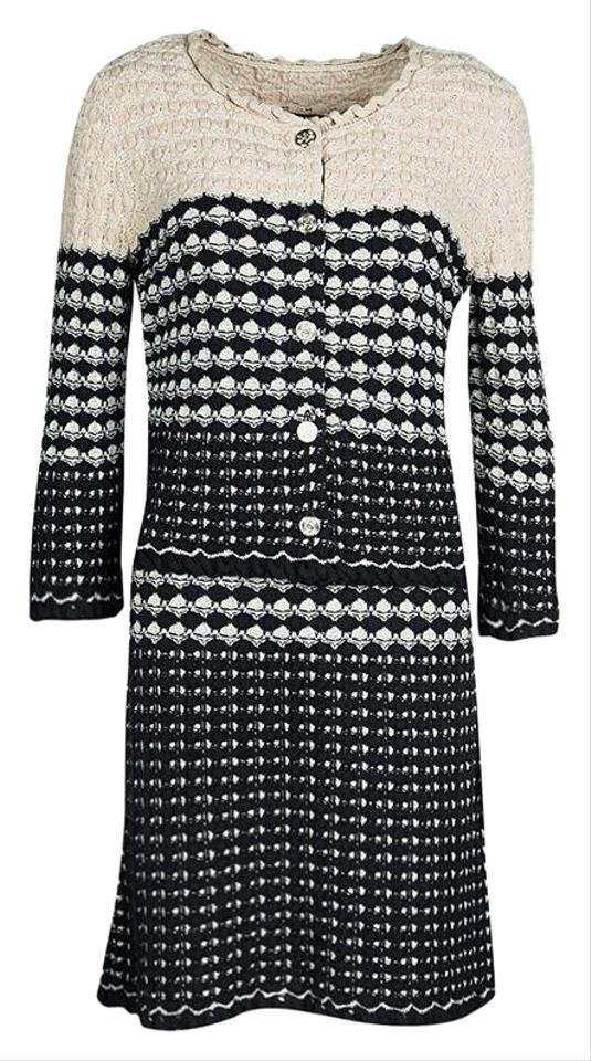 Chanel Multicolor Navy Blue And Beige Knit Dress And Cardigan Set M Skirt Suit Size 10 M