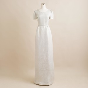 J.Crew White/Silver Silk Heather Cloud Dinah Gown Gown Vintage Wedding Dress Size 4 (S)