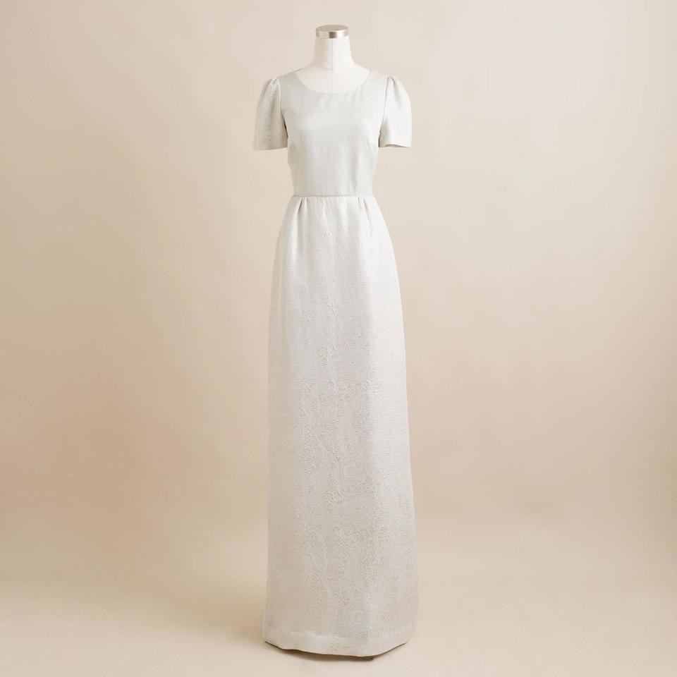 J.Crew White/Silver Silk Heather Cloud Dinah Gown Gown