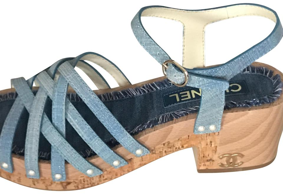 Chanel Blue 18c Wood Platform Fantasy Leather Pearl Sandals Size EU ...
