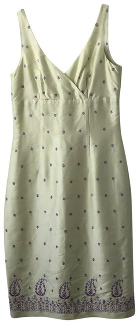 Item - Lemon Chartreuse with Purple and Lilac 53770 Mid-length Night Out Dress Size 2 (XS)