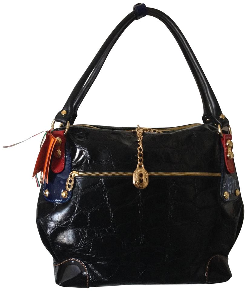 8a3ff67fd5de Marino Orlandi Croc Embossed Shoulder Black with Red Blue Patent Trim Leather  Weekend Travel Bag