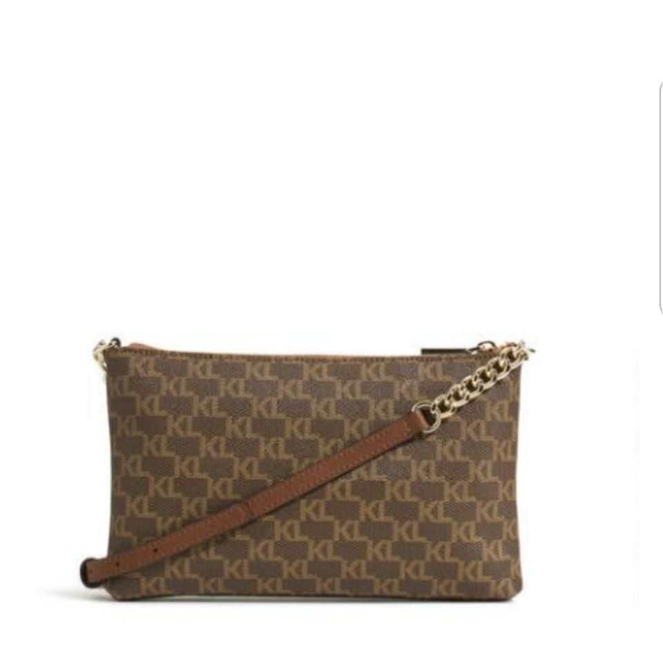 Monogram Canvas Kl Body Cross Karl Brown Bag Lagerfeld Almond C4anWWqZw