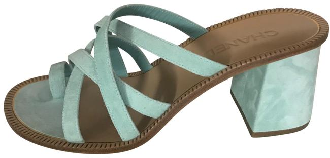 Item - Light Green 18c Suede Leather Strap Sandals Size EU 39.5 (Approx. US 9.5) Regular (M, B)