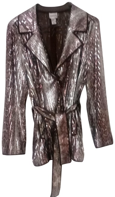 Item - Brown and Copper Sequence Blazer Size 8 (M)