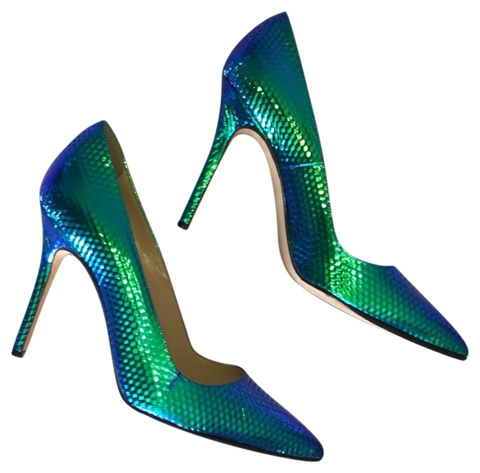 b8fb6e11013a Manolo Blahnik Multicolor Rainbow Peacock Limited Edition Pumps Size ...