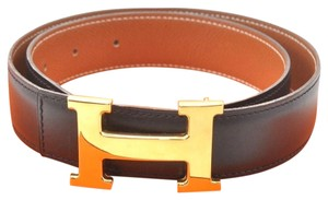 Hermès Hermes Constance Black Brown Reversible Leather H Logo Belt 70