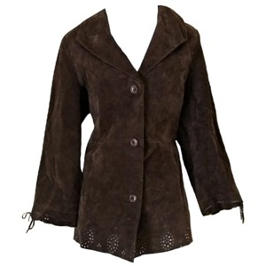 Dennis Basso Suede Boho Long Cutouts brown Leather Jacket