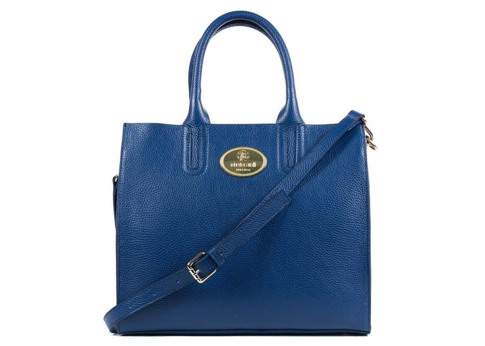 389088b24e87ea Roberto Cavalli Tote Structured Navy Grainy Calf A417 Blue Leather ...