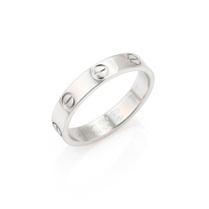 Cartier Mini Love 18k White Gold 3.5mm Wide Band Ring Size 53 w/Cert
