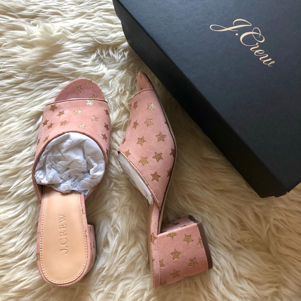 j crew pink all day block heel in starry blush suede mules slides