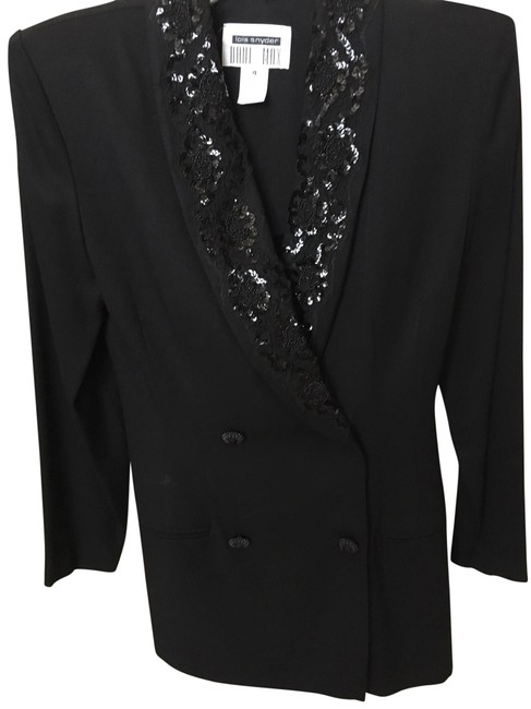 Item - Black Double-breasted Sequined with Belted Back. Blazer Size 4 (S)