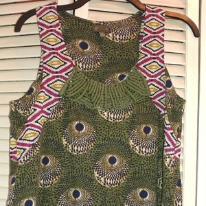 Anthropologie Top Green, gold, navy