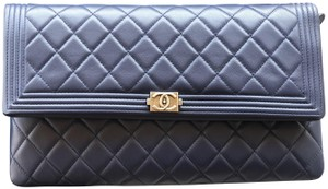 Chanel Lambskin Boy Quilted Navy Clutch