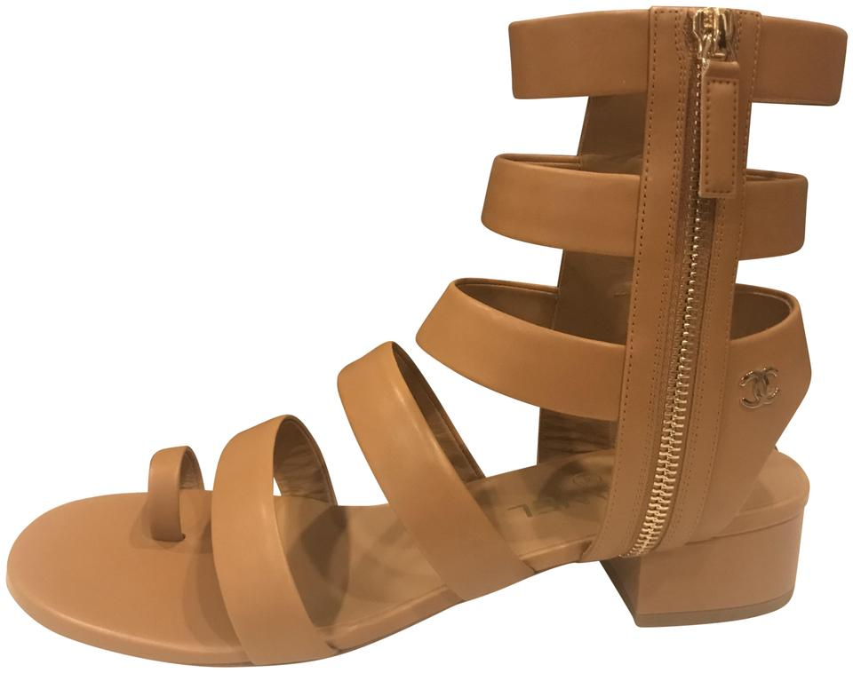 c3ad962858dc Chanel Brown 18c Leather Grecian Gladiator Toe Ring Heels Sandals ...