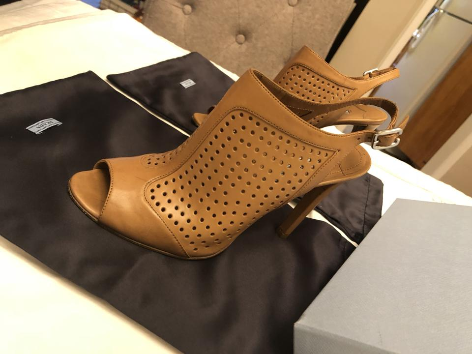 Prada Slingback Booties Boots Perforated Leather Cognac Pump qCxrqSfw