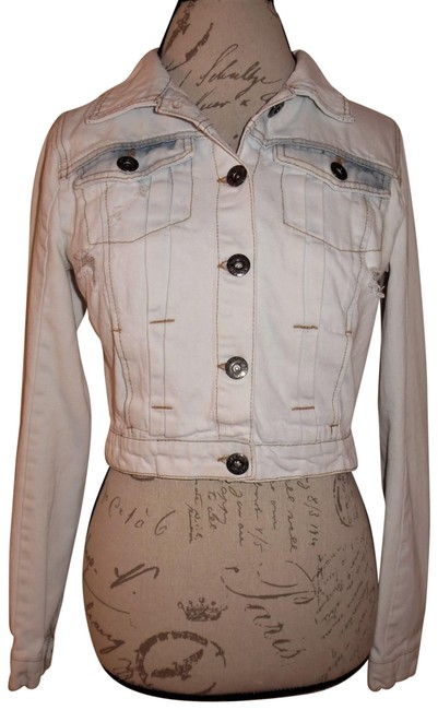 Item - White Blue Acid Washed Distressed Cropped Jean Jacket Size 8 (M)